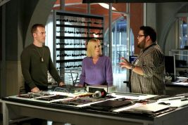 """""""Ghost In The Machine"""" -- The cyber team tracks a killer who hacks into a popular online game and tricks gamers into delivering illegal weapons, on CSI: CYBER, on a special night, Tuesday, May 12 (10:01-11:00 PM, ET/PT), on the CBS Television Network. Pictured: (L-R) James Van Der Beek, Patricia Arquette and Charlie Koontz Photo: Michael Yarish/CBS ©2015 CBS Broadcasting, Inc. All Rights Reserved"""