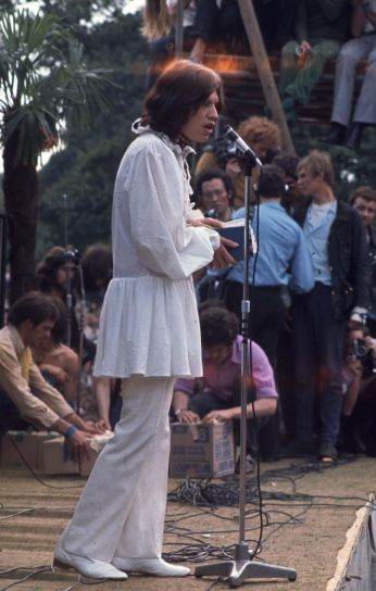 Stones in The Park 2nd September 1969 Mick Jagger of the Rolling Stones. Copyright Granada Television