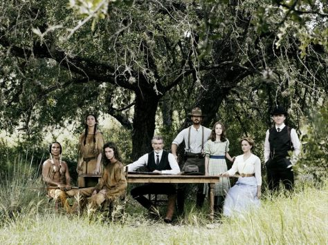 Zahn McClarnon as Toshaway, Elizabeth Frances as Prairie Flower, Jacob Lofland as Young Eli, Pierce Brosnan as Eli McCullough, Henry Garrett as Pete McCullough, Sydney Lucas as Jeannie McCullough, Jess Weixler as Sally McCullough, David Wilson Barnes as Phineas McCullough - The Son _ Season 1, Gallery - Photo Credit: James Minchin/AMC