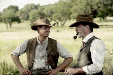 Henry Garrett as Pete McCullough, Pierce Brosnan as Eli McCullough - The Son _ Season 1, Episode 1 - Photo Credit: Van Redin/AMC
