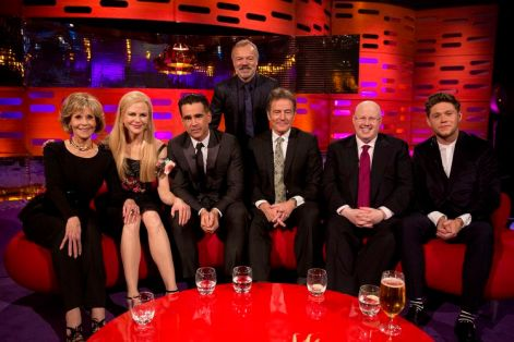 Host Graham Norton with (left to right) Jane Fonda, Nicole Kidman, Colin Farrell, Bryan Cranston, Matt Lucas and Niall Horan during filming of the Graham Norton Show at the London Studios, to be aired on BBC One on Friday evening.