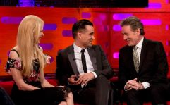 (left to right) Nicole Kidman, Colin Farrell, and Bryan Cranston during filming of the Graham Norton Show at the London Studios, to be aired on BBC One on Friday evening.