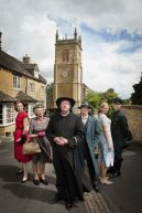 Picture Shows: L-R Lady Felicia (NANCY CARROLL), Mrs McCarthy (SORCHA CUSACK), Father Brown (MARK WILLIAMS), Inspector Valentine (HUGO SPEER), Susie (KASIA KOLECZEK), Sid (ALEX PRICE) - (C) BBC - Photographer: Des Willie