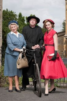 Picture shows: Mrs McCarthy (SORCHA CUSACK), Father Brown (MARK WILLIAMS) and Lady Felicia (NANCY CARROLL)