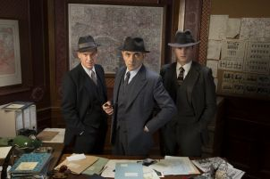 Picture shows: (L-R) Janvier (SHAUN DINGWALL), Jules Maigret (ROWAN ATKINSON), Lapointe (LEO STAAR)