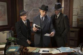 Picture shows: (L-R) Janvier (SHAUN DINGWALL), Jules Maigret (ROWAN ATKINSON), Lapointe (LEO STAAR)