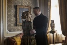 Jared Harris as Francis Crozier, Sian Brooke as Sophia Craycroft; group - The Terror _ Season 1, Episode 4 - Photo Credit: Aidan Monaghan/AMC
