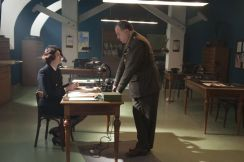 Picture shows: Second Officer Monday (ANNA CHANCELLOR) and Colonel Donovan (STANLEY TOWNSEND) in office