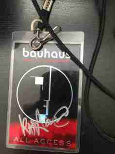Bauhaus all access pass - photo by Kevin Haskins